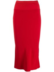 Rick Owens Ribbed Fitted Skirt Red