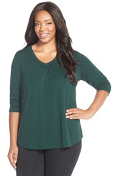 Sejour Three Quarter Sleeve Tee Plus Size Green Ponderosa