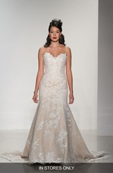 Women's Matthew Christopher 'Daniella' Strapless Lace Trumpet Gown In Stores Only