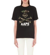 Aape By A Bathing Ape Camo Skull Print Cotton T Shirt Black