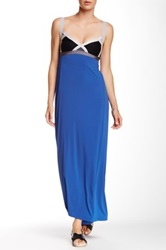 Vpl Insertion Narrow Maxi Dress Blue