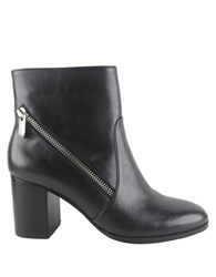 Adrienne Vittadini Bob Blakley Leather Ankle Boots Black