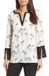 Chaus Floral Split Bell Sleeve Blouse 060 Rich Black