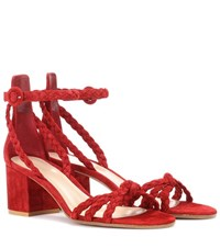 Gianvito Rossi Liya Suede Sandals Red