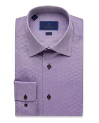 David Donahue Trim Fit Tonal Box Dress Shirt Purple
