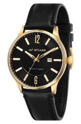 James Mccabe Men's New Belfast Slim Leather Strap Watch 44Mm Black Black