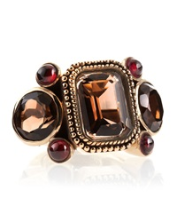 Stephen Dweck Smoky Quartz Garnet Ring Red