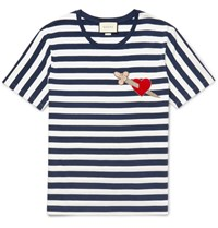 Gucci Appliqued Striped Cotton Jersey T Shirt Navy