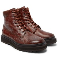 Brunello Cucinelli Shearling Lined Distressed Leather Boots Brown