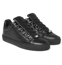 Balenciaga Arena Creased Leather Sneakers Black