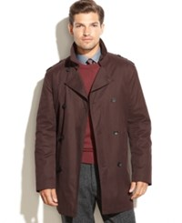 Kenneth Cole New York Coat Rance Cotton Raincoat Burgundy