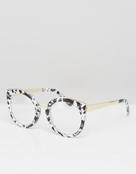 Asos Geeky Kitten Glasses With Clear Lens And Mono Marble Acetate Finish Black White