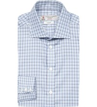 Turnbull And Asser Diamond Pattern Slim Fit Cotton Shirt Blue