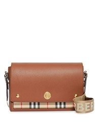 Burberry Leather And Vintage Check Note Crossbody Bag Brown
