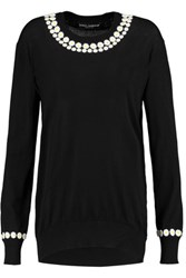 Dolce And Gabbana Appliqued Cashmere Cotton Blend Jersey Sweater Black