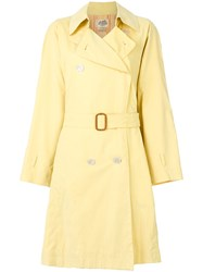 Hermes Vintage Belted Trench Coat Yellow And Orange