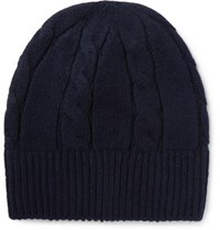 Anderson And Sheppard Cable Knit Wool Beanie Midnight Blue