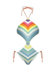 Mara Hoffman Prismatic Striped Crochet Cut Out Swimsuit Multi