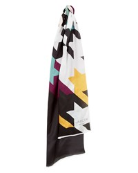 Jaeger Silk Houndstooth Print Scarf Multi Coloured Multi Coloured