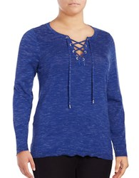 Marc New York V Neck Lace Up Sweater Cerulean