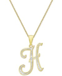 Macy's Diamond Accent Script Initial Pendant Necklace In 18K Gold Plated Sterling Silver H