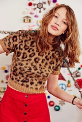 Cooperative Fuzzy Leopard Cropped Sweater Brown