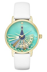 Kate Spade Women's New York Metro Peacock Leather Strap Watch 34Mm