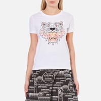 Kenzo Women's Printed Tiger On Cotton Single Jersey T Shirt White