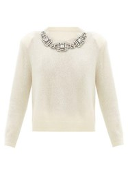 Christopher Kane Crystal Embellished Cashmere Blend Sweater White
