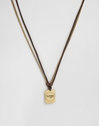 Classics 77 Leather And Metal Dogtag Necklace In Brown Brown