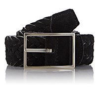 Simonnot Godard Men's Reversible Suede And Felt Belt Black Blue Black Blue