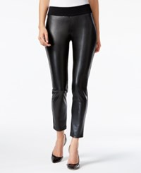 Alfani Prima Faux Leather Front Skinny Pants Only At Macy's Deep Black