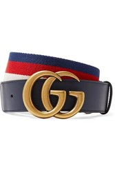 Gucci Striped Canvas And Leather Belt Navy