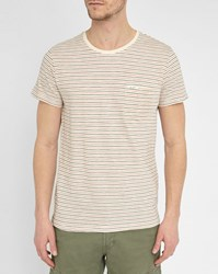 Wrangler Beige Round Neck T Shirt With Thin Blue And Orange Stripes