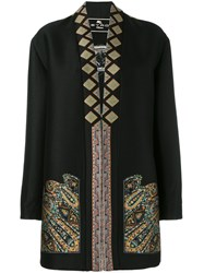 Etro Embroidered Coat Women Cotton Polyester Acetate Wool 42 Black