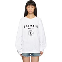 Balmain White Flocked Logo Sweatshirt