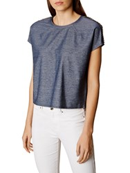 Karen Millen Boxy Denim Top Blue