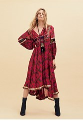 Free People Womens Embroidered Tribal Dress