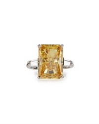 Fantasia Emerald Cut Canary Crystal Cocktail Ring Yellow