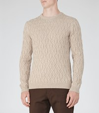 Reiss Panther Mens Cable Knit Jumper In Brown