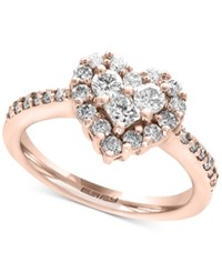 Effy Pave Rose By Diamond Heart Ring 9 10 Ct. T.W. In 14K Rose Gold