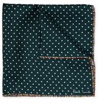 Paul Smith Stripe Trimmed Polka Dot Silk Twill Pocket Square Emerald