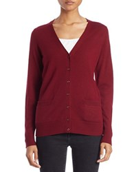 Lord And Taylor Plus Merino Wool V Neck Cardigan Cabernet