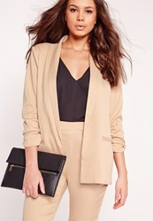 Missguided Gathered Sleeve Tailored Blazer Suit Nude Grey