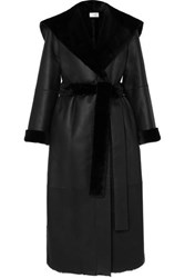 The Row Riona Hooded Belted Shearling Coat Black