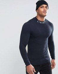 Asos Extreme Muscle Long Sleeve T Shirt With Printed Turtle Neck Navy