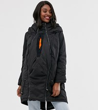 Mamalicious Maternity 3 In 1 Post Functionality Padded Coat In Black