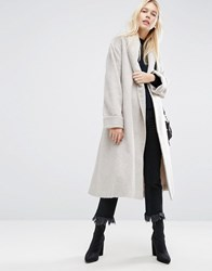 Asos Coat In Soft Texture With Belt Mink Pink