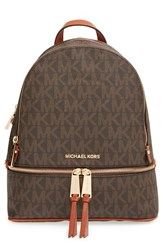 Michael Michael Kors 'Small Rhea Zip' Leather Backpack Brown