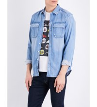 Replay Military Style Denim Shirt Blue